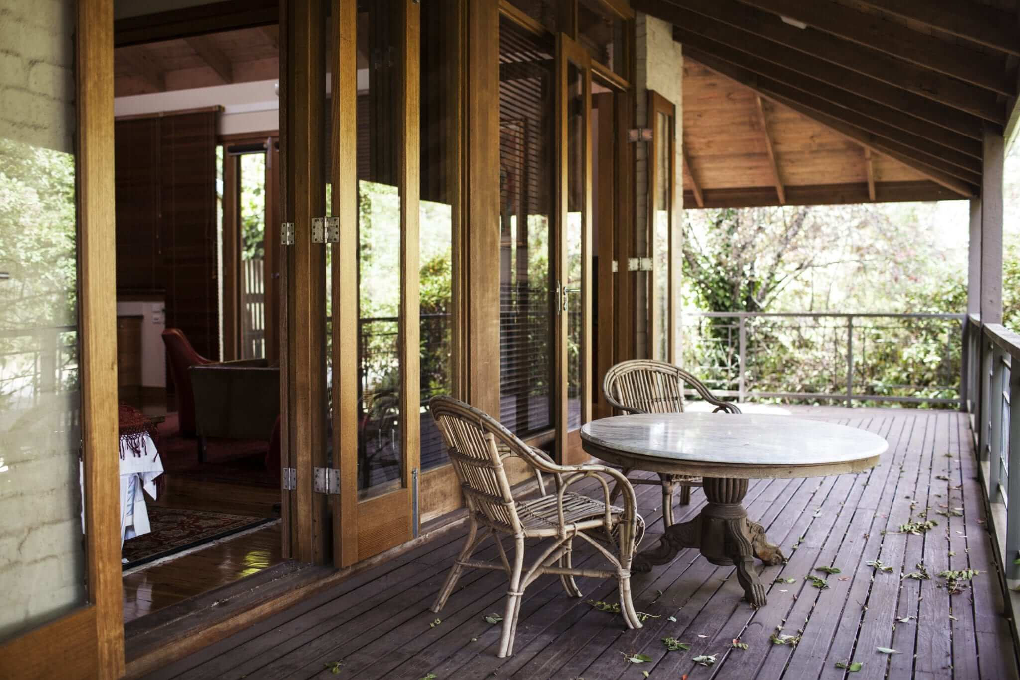 Outdoor relaxation on the deck at Kate's Place, Daylesford